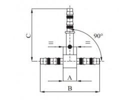 3 - Wege Verbinder 90 Grad DN08